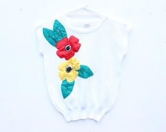 80s Australiana 3D Flower Novelty Fun Knit Slouch Sweater Crop Top