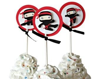 Ninja Birthday Party Cupcake Toppers, Karate Party Cupcake Toppers (set of 12)