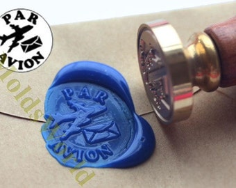 S1257 Par Avion Airmail Wax Seal Stamp , Sealing wax stamp, wax stamp, sealing stamp