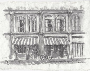 Shophouses, Singapore, original painting