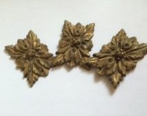 Antique French  Bronze Ormolu  Decor Pieces, Ornate Embellishments Hardware, Set of 3