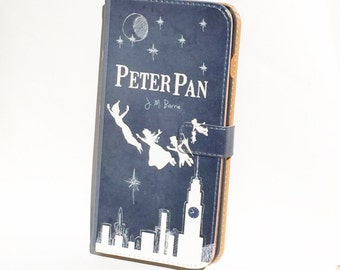 Book phone /iPhone flip Wallet case- Peter Pan for iPhone 6, 6 plus, 5, 5s, 5c, iPhone 4, 4s- Samsung Galaxy S6 S5 S4 S3, Note 3, 4 LG SONY