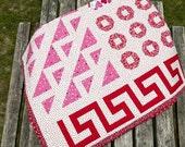 Sampler Quilt Patchwork Queen Size Cotton Red, White,  Pink, Heart Print, Modern Quilt, Wedding Quilt
