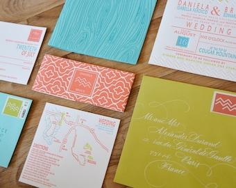 Modern Woodgrain Wedding Invitation, letterpress woodgrain invitation, neon, bright colors, chartreuse, aqua, coral, square invitation