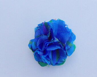 Blue/Green Plaid Satin Lapel Flower
