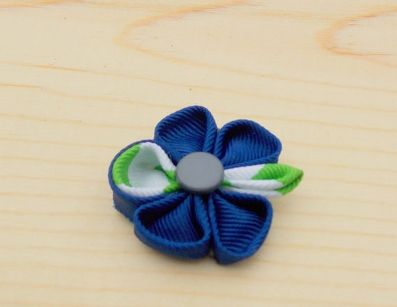 Clearance Sale:The Chicago-Royal Blue Grosgrain  Lapel Flower with Green and White Stripe // Boutonniere//men's Lapel Flower//Flower  Pin