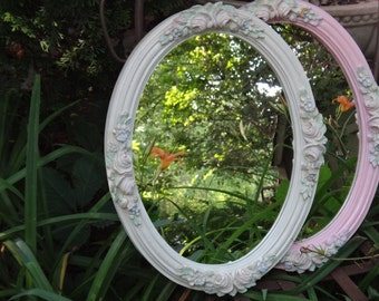 Oval Mirror, 14 x 18 Mirror, White Mirror, Pastel Floral Mirror, Spring Flowers, Baby Shabby Chic, Nursery,  Wall Hanging, Rustic Boudoir