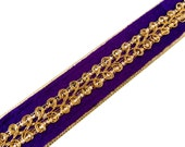 Purple and Gold Sequinned Velvet and Jari Ribbon / Trim / Lace by Yard