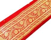 Extracted From Pure Silk Sari - Red and Gold Brocade Silk Sari Border - Trim / Lace / Ribbon - Brocade Silk Border by Yard