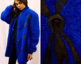 ON SALE 1980s electric blue oversized angora & mohair sweater with leather appliqué