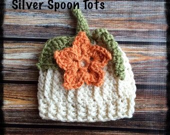 Baby girl Pumpkin Hat, crochet pumpkin hat, baby costume, white pumpkin hat, photo prop halloween costume,newborn hat