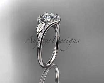 "14kt white gold diamond leaf wedding ring, engagement ring with a ""Forever One"" Moissanite center stone ADLR334"