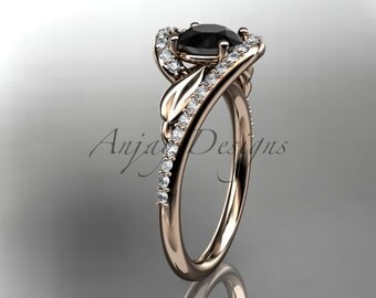 14k rose gold diamond leaf and vine,engagement ring with black diamond center stone ADLR317