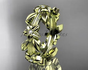 14kt  yellow gold diamond leaf wedding ring,engagement ring,wedding band ADLR316