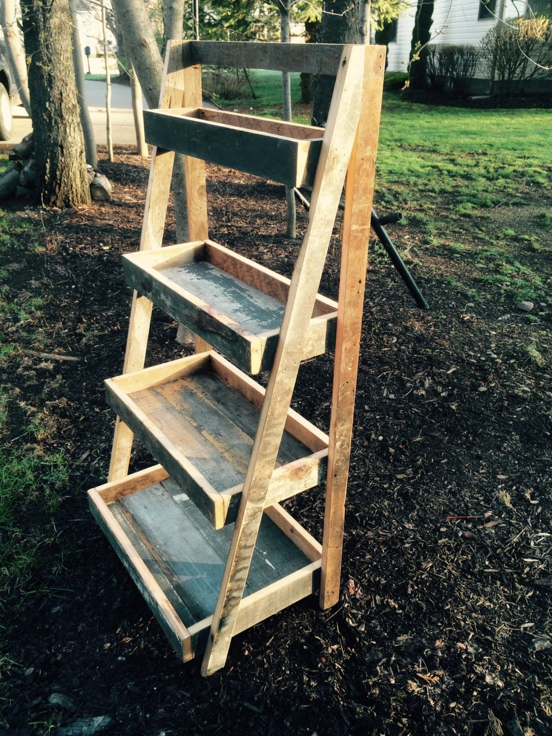 Wooden Ladder Shelf ~ Reclaimed wood ladder shelf