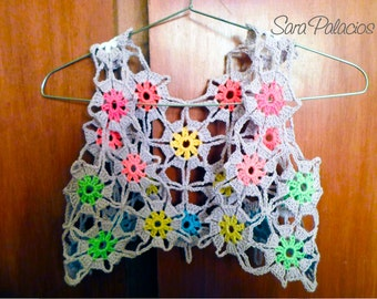 Multicolor bolero crochet Pattern. Flower granny square bolero pattern. Girl bolero, crochet flower shrug pattern, Continuous Joining