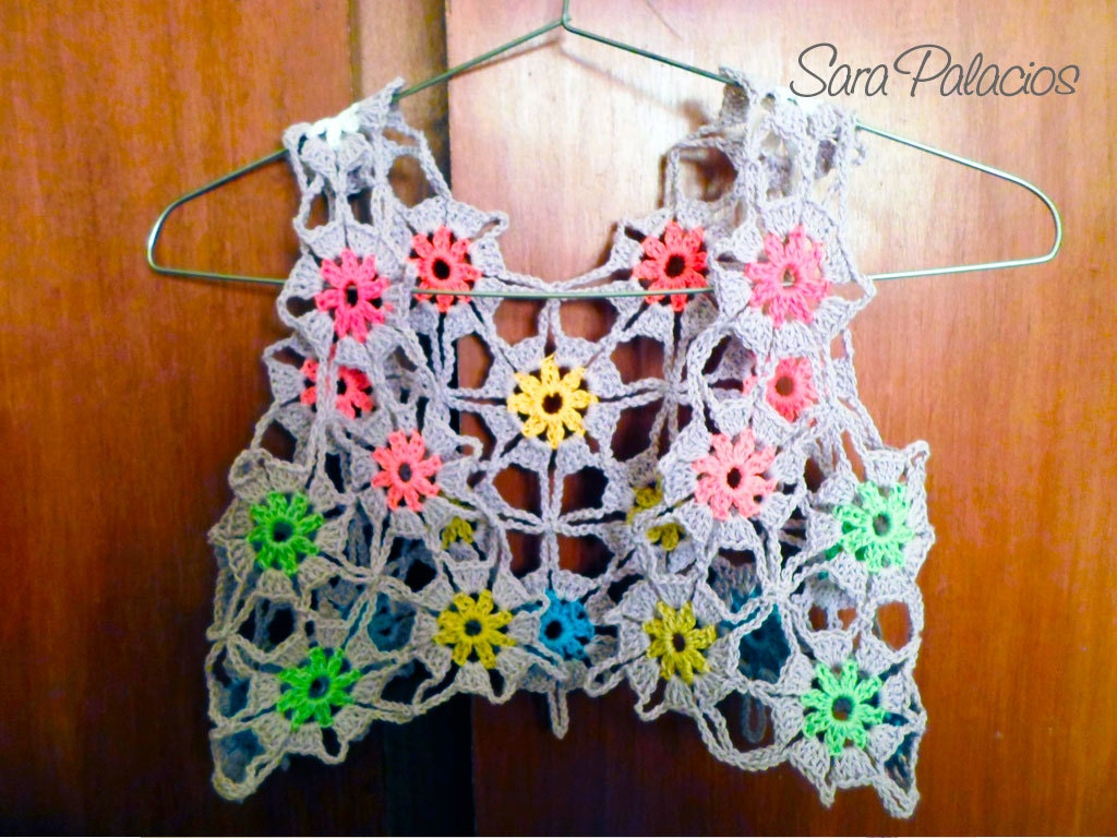 Multicolor bolero crochet Pattern. Flower granny square bolero