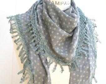 womens gift women, present for her, grey scarf, Lace Scarf Shawls, Summer 2016,  Lightweight Scarf,  Bridesmaid Gift under 20  -By PIYOYO