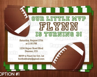 Football Theme Birthday Party Invitation | Green & Brown | Personalized | Printable DIY Digital File