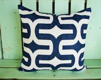 "18"" X 18"" navy, white modern print cotton- Decorative pillow cover-throw pillow-accent pillow"