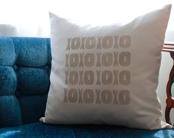 XOXO pillow in tan | love pillow cover | greige neutral pillow | wedding gift | anniversary gift