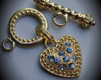 Genuine Large Gold Plated Swarovski Crystal Heart Toggle Clasp - Light Sapphire