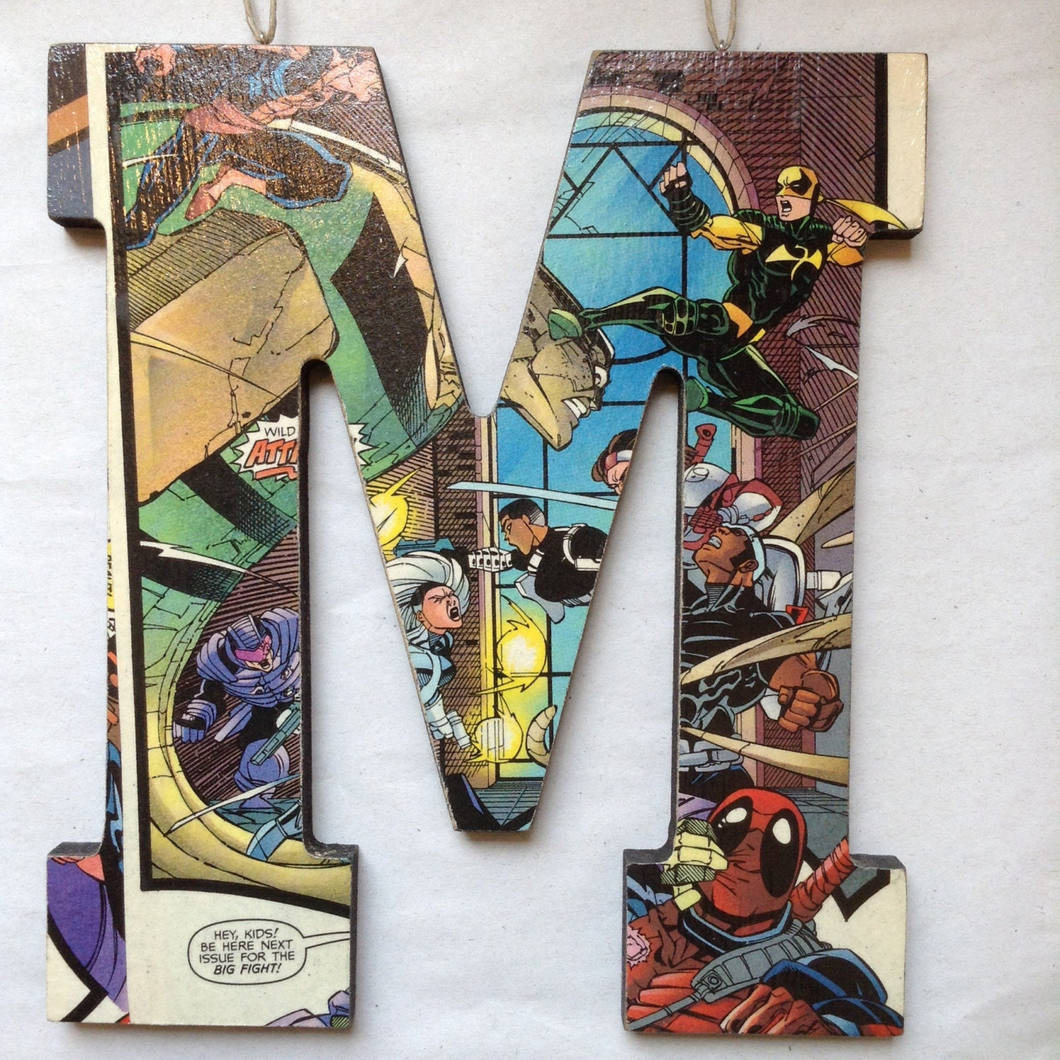 Marvel Wood Wall Decor : Handcrafted comic book block letter m marvel by