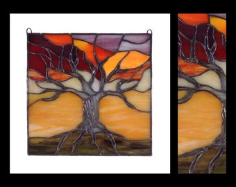 "Tree of Life at Sunset - Glass Panel (10""x10"")"