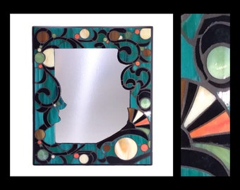 "Art Nouveau - Stained Glass Mosaic Mirror (12""x14"")"