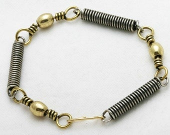 Vintage Brass Bracelet coiled two tone flexible bead link 1970s WOW silver oxidized