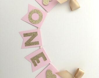 Pink & Gold Glitter Cake Bunting Topper. Birthday Cake Topper, Smash Cake Topper, Photo Prop, Gold Bows