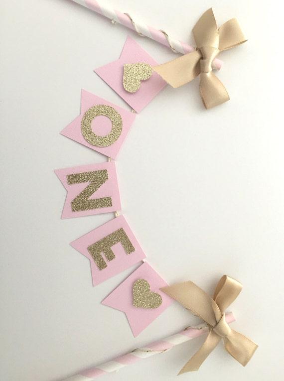 Pink Gold Glitter Cake Bunting Topper Birthday Cake Topper Smash