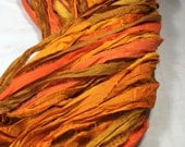 10 yd Recycled Sari Silk Ribbon Free Combined Shipping  Orange Gold Bronze Jewelry Outdoor Decor Bracelet Scrapbook Weave Fiber Art Supply