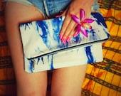 Shibori Foldover Clutch Purse Hand dyed handmade women's handbag spring accessories gift