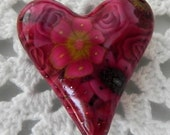 Heart Pendant Bead with Red Polymer Clay Cane Flowers and Roses