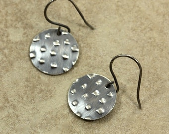 Medium Sterling Silver Disc Earrings with Embossed Small Squares, Embossed Silver Earrings, Drop Earrings, Sterling Silver Earrings