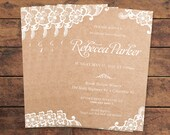 Lace and Kraft Rustic Bridal Shower Invitation Printed - DIY Printables