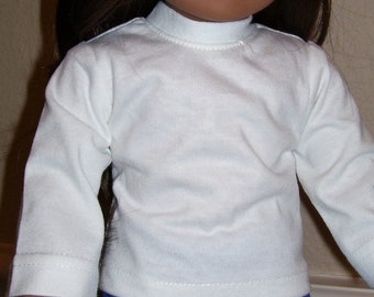 18 Inch Doll Clothes - White Cotton Knit Tee Shirt