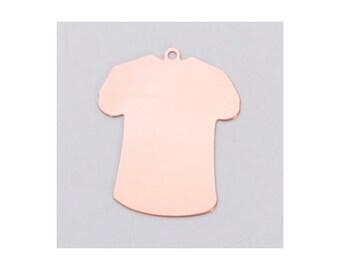 Copper Small T-Shirt 23mm x 18.5mm 24ga PKG of 6