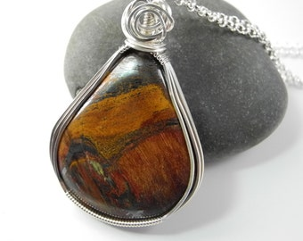 Austrailan Tiger Eye Pendant, Marra Mamba Pendant, Tiger Iron, Wire Wrapped in Sterling Silver, Mystical Moon Designs, Designer Cabochon