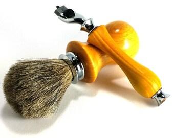 Orange Osage Shaving Set with Chrome Finish and Choice of Shaving Soap