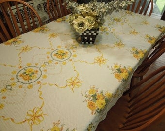Vintage White Kitchen Dining Luncheon Table Cloth with yellow flowers for housewares, home decor, linens by MarlenesAttic