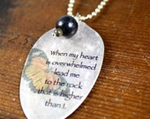 When My Heart Is Overwhelmed Necklace, Butterfly Necklace, Silverware Jewelry, Inspirational Jewelry