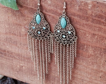 Long Gold Chain Filigree Chandelier Dangle Earrings with Turquoise & Blue Gemstones