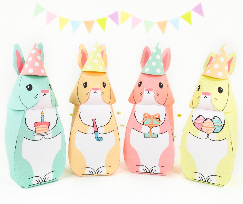 birthday bunnies printable party favors diy pdf bunny gift