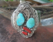 Vintage Arnold Maloney M Navajo Sterling Silver Turquoise Coral Wide Cuff Bracelet Native American