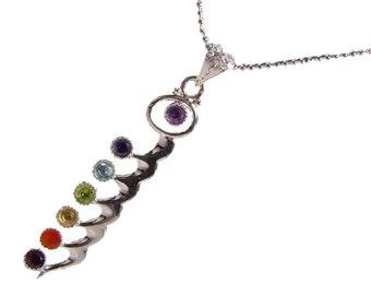 Silver Kundalani with 7 Chakra Gemstone Accents Necklace Pendant 0338K
