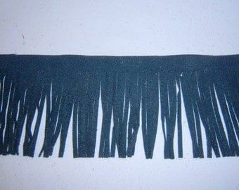 Genuine leather fringes black suede for Native American, tassels, purses trim 4 x 19