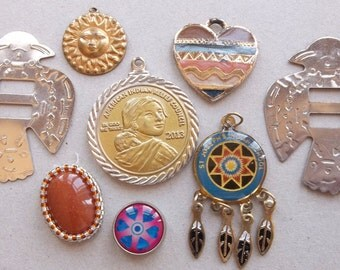 native american destash of charms, pendants, and metal findings--mixed lot of 7 items