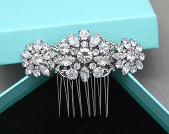 Romantic Flowers Vintage Style Hair Comb, Rhinestone Crystals Hair Comb, Bridal Hair Comb, Wedding Hair Comb, Alligator Clip, Barrette Clip